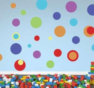 Vinilo círculos de colores tamaños arco iris