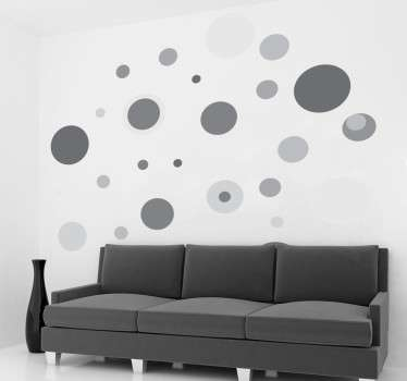 Multiple sizes grey circle sticker. Characterize the walls of your home to give it some personality.