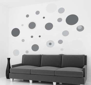 Vinilo círculos de colores tamaños grises