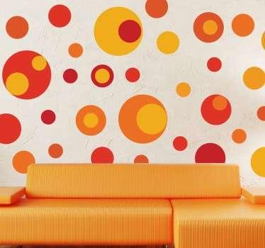 Vinilo círculos de colores y tamaños tonos cálidos