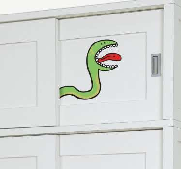 Kids Wall Stickers - Fun and playful illustration of a green snake. Ideal for decorating cupboards and wardrobes for children.