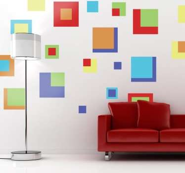 Stickers decorativos de cuadrados de diferentes tamaños y colores con los que crear efectos alucinantes en tu hogar.