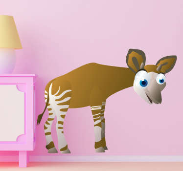 Kid Wall Stickers-Fun and playful illustration of a smiling okapi. Cheerful design idea for decorating your childs bedroom