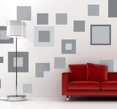 Decorative shapes wall sticker with different sized squares and shades of grey Adds This sticker formed by different sized geometric squares allows you to create overlapping effects on your walls Furthermore, these are very easy to apply and very affordable