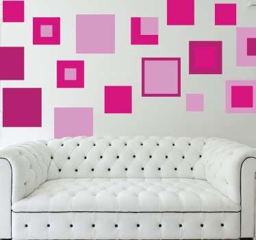Pink Geometric Squares Sticker