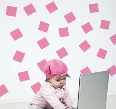 Sticker roze vierkantjes