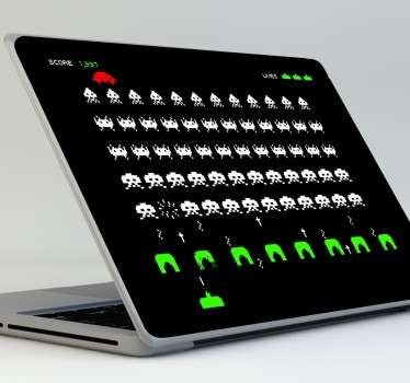 Space Invaders scherm laptop sticker