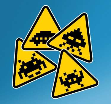 A set of sign wall stickers illustrating characters from the famous and nostalgic video game from the 80s, Space Invaders. A great video game sticker to decorate your doors, walls or anywhere else in your home.