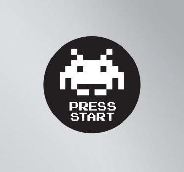 A brilliant laptop decal illustrating a nostalgic video game design from the 80s, Space Invaders.