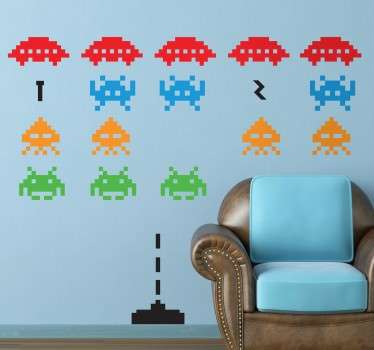 Space Invaders muur sticker