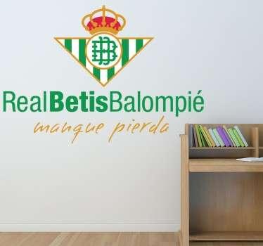 Pegatina adhesiva Escudo Real Betis Balompié ideal para todos aquellos hinchas béticos. Esta pegatina es el escudo más actualizado del club.