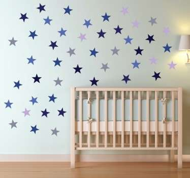 Muursticker decoratieve blauwe sterren