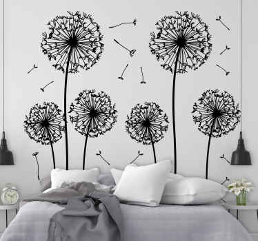 Floral dandelion wall sticker from our superb collection of plant wall stickers to give your home a fresh and calm atmosphere. Six stems of various sizes to give your living room or bedroom a touch of elegance and class.