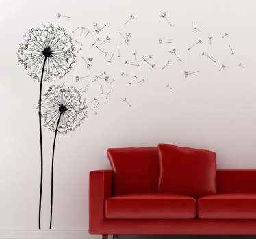 A fantastic floral design illustrating two dandelions from our creative collection of dandelion wall stickers for your living room.