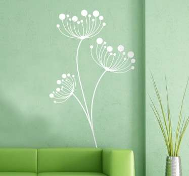 A modern style interpretation of three dandelions from our collection of modern wall stickers ideal to decorate your home.
