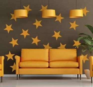 Muursticker decoratieve gele sterren