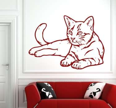 This beautiful cat decal stands out and is eye-catching wherever it is placed in your home. Perfect for cat lovers, our cat wall sticker comes in different sizes and is available in up to 50 colours.