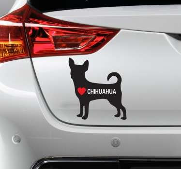 "Decals - Silhouette illustration of a small Chihuahua with a heart and the text ""CHIHUAHUA"". Ideal for dog lovers."