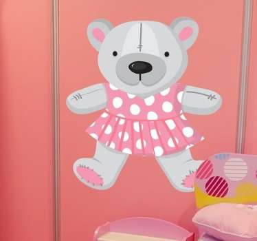 An adorable teddy bear in a pink polka dot dress from our teddy bear wall stickers collection to decorate a girl's bedroom or play area.