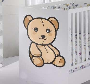 Süßer Teddybär Aufkleber mit Knopfaugen