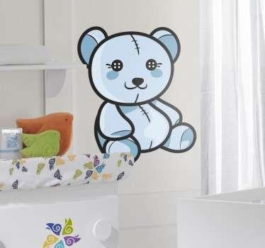 Wandtattoo Teddybär mit Knopfaugen blau