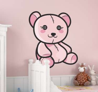 Kids Wall Stickers - Playful and fun illustration of an adorable light pink teddy bear. Original design ideal for decorating the nursery
