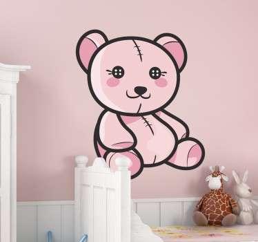 Rosa Teddybär Aufkleber mit Knopfaugen