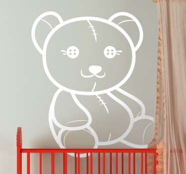 An outline of a happy and fun teddy ideal to decorate all spaces for children. Fantastic design from our collection of teddy wall stickers for kids.