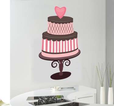 愛の心のチョコレートケーキデカール