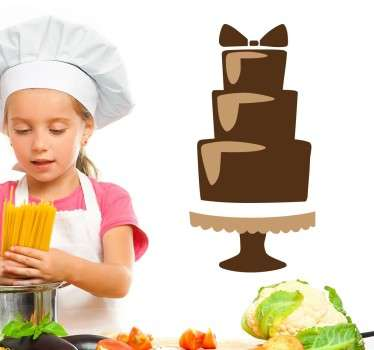 Cake - Illustration of a three tier mouth watering chocolate cake with a bow decoration on top