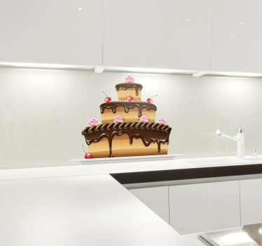 Sticker taart chocolade kersen