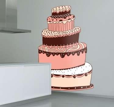 Naklejka pięciopiętrowy tort