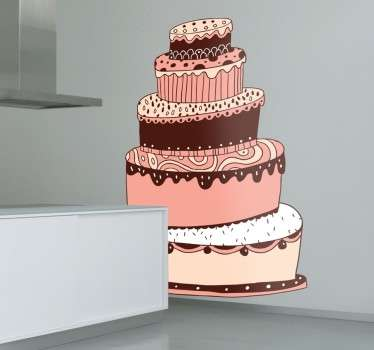 Sticker taart chocolade groot