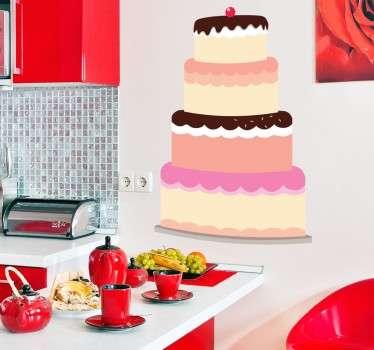 Deze sticker omtrent een leuk ontworpen taart ter decoratie van de wanden in de keuken. Ideaal voor mensen die graag bakken en koken.