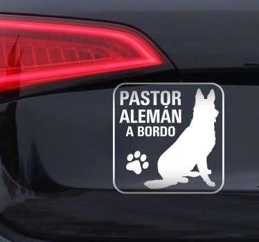 Pegatina Pastor Alemán a Bordo para los entusiastas de los perros y concretamente de esta raza.