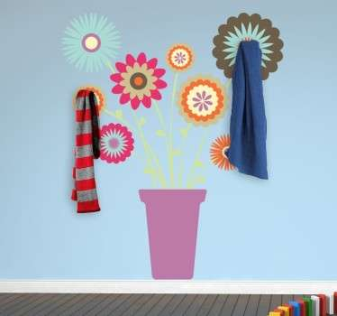 A coat rack sticker with a flower pot image with which you can brightly decorate any room. A fresh, unique and vivid design.