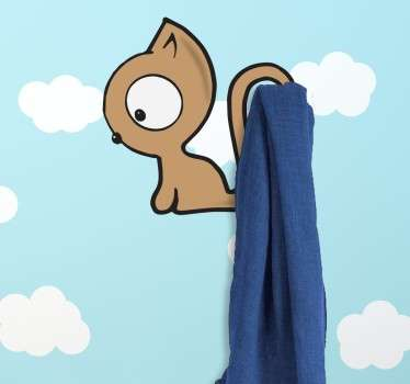 Children's coat rack sticker of a cute little cat. Hang your jackets and accessories on it's tail to organise your room and add a fun element.