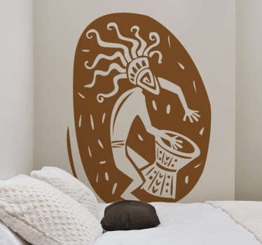 African Musician Shield Wall Sticker