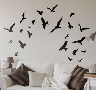 Decorate the walls of your home with these flying bird sticker set available in a huge variety of colours so you can personalise your home the way you want. 16 bird stickers to adapt as you like to your home.