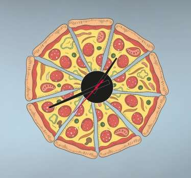 Wall Clocks - Pepperoni Italian pizza clock design. Original and distinctive, ideal for decorating the home. Perfect for any room