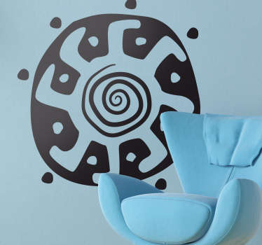 Wall Stickers - Unique tribal interpretation of the sun on a shield. Available in 50 colours.
