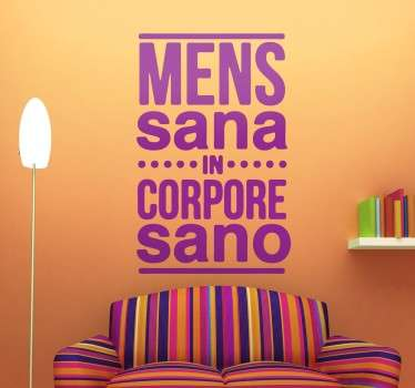 Vinilo decorativo texto mens sana