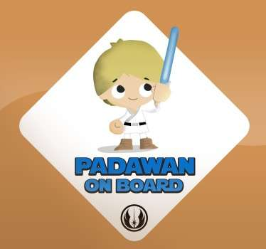 Sticker voiture padawan on board