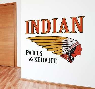 Recreación en vinilo decorativo de un cartel antiguo de una mítica marca de motos americana. Vinilos Personalizados a medida.