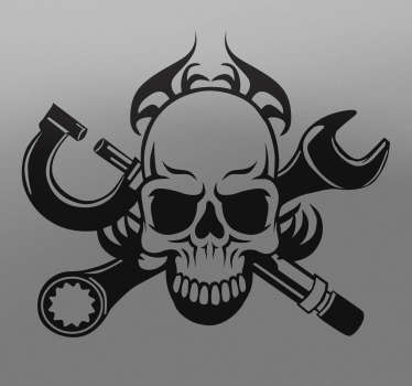 Monochrome sticker with a picture of a skull with crossed tools available in many sizes and colours. Perfect for decorating the frame of your bike, the trunk of your car or even the walls of your workshop or garage.