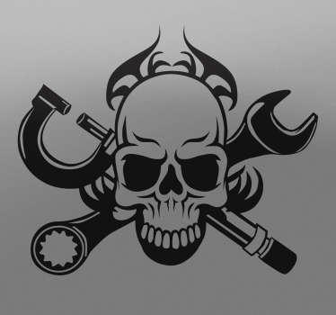 Sticker tête de mort outils