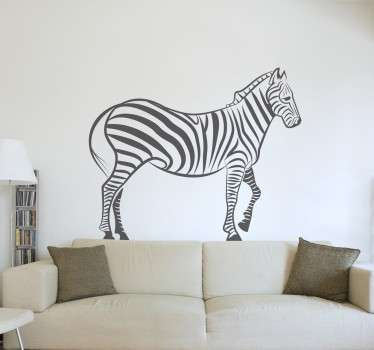 Sticker to decorate any room in your home, with the representation of a zebra, one of the animals of the African savannah.
