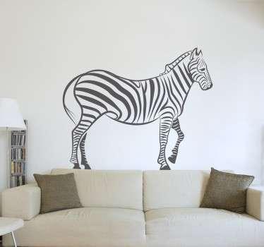 Staande zebra muursticker