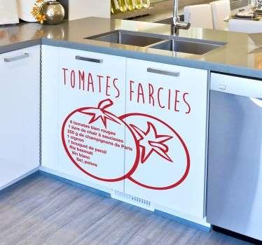 Hmm les tomates farcies... L'un des plats les plus emblématiques de la France. Décorez les murs de votre cuisine grâce à cette recette appétissante !
