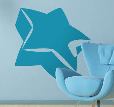 Decorative design of a 3D star. A creative decal from our collection of star wall stickers to decorate your walls at home.